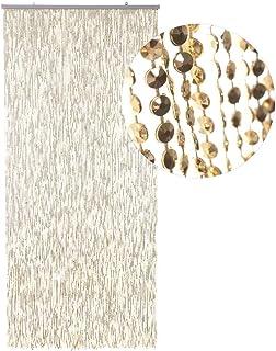 HAB & GUT -DV0247- Türvorhang Mini DIAMANTEN 90 x 200 cm Gold Insektenschutz Perlen Pailettenvorhang