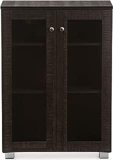 Baxton Studio Wholesale Interiors Mason Multipurpose Storage Cabinet Sideboard with Two Class Doors, Dark Brown