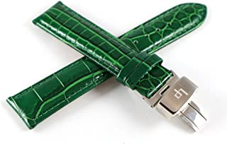Lucien Piccard 20MM Alligator Grain/Texture Real Leather Watch Strap Dark Green with Stainless LP Butterfly Clasp