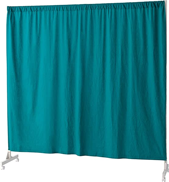 Don T Look At Me Privacy Room Divider White Frame With Ocean Depths Teal Cotton Fabric