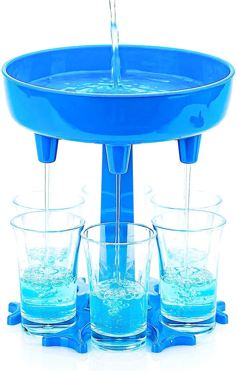 CNXUS Dispensador de 6 Vasos de chupito y Soporte - Dispensador para llenar líquidos, Dispensador de chupitos, Dispensador de 6 chupitos múltiple, Dispensador de chupito de Barra