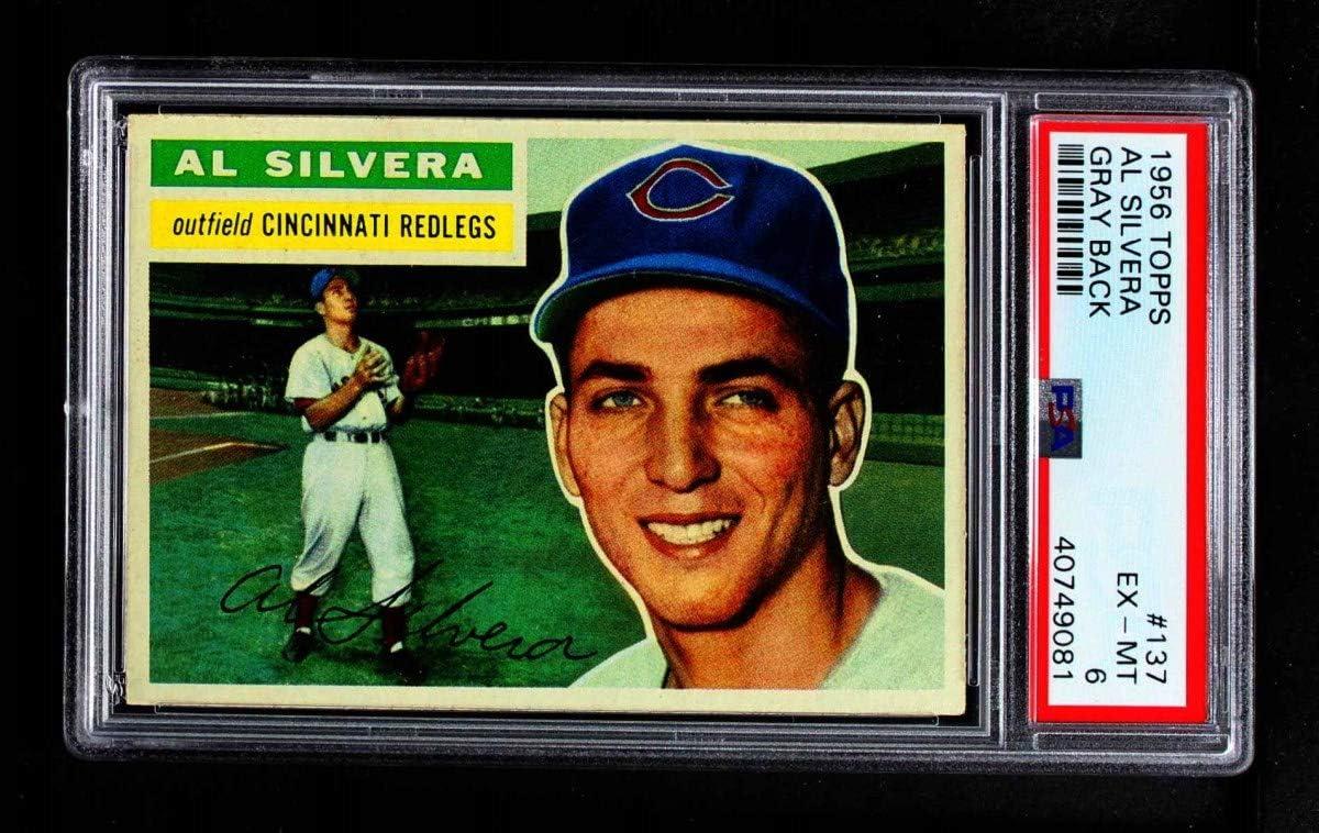 1956 Topps # 137 GRY Al Reds Baseball Silvera Ranking TOP16 Cincinnati trust Card