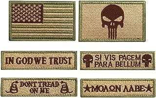 CREATRILL Bundle 6 Pieces Tactical Military Morale Patch Set (Tan)