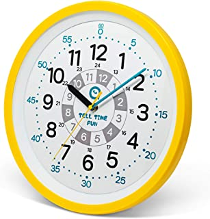 Tell Time Fun Large Kids Silent Analog Teaching Wall Clock. Kids Bedroom, Playroom, Study Room, Living Room, Classroom. Educational Material for Parents and Teachers. (Sunrise Yellow)