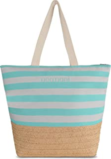 normani XXL Strandtasche mit Henkeln und Innentasche - Shopper groß - Damen Schultertasche - Tasche mit Stroh 30 Liter