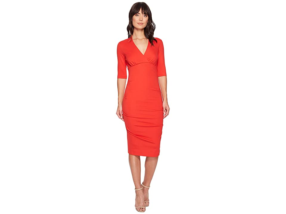 Nicole Miller Joss Ponte Dress (Papaya) Women