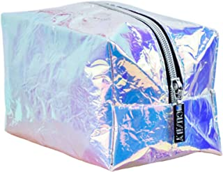 Guzily Holographic Makeup Bag, Cosmetic Bag, Toiletry Bag, Travel Pouch, Pencil Case, with Iridescence Rainbow Crinkle Metallic Designer TPU Fabric, Unisex Organizer, 1 Large Holographic Makeup Bag