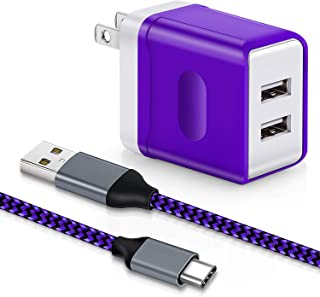 Dual USB Wall Charger, Aupek USB Type C Cable [1 PACK, 10FT] High Speed Power Adapter Charging Plug Cube Braided cable cord compatible Samsung Galaxy Note 9/8, S9 Plus, LG Google Pixel, Nexus-purple