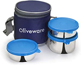 Oliveware Lovely Stylo Lunch Box   Stainless Steel Containers   Idle for Office Use   Insulated Fabric Bag   Leak Proof & Microwave Safe   Full Meal & Easy to Carry - Blue