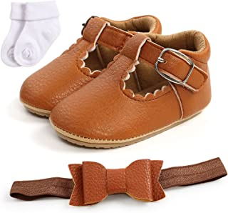 Sponsored Ad - Infant Baby Girls Mary Jane Flats Princess Dress Shoes Toddler Wedding Shoes with Non-Slip Sole with Socks...