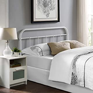 Modway Serena Rustic Farmhouse Style Steel Metal White Headboard Size, Queen