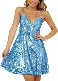 Jonlyc Sparkly A-Line Spaghetti Straps Short Sequins Homecoming Dresses