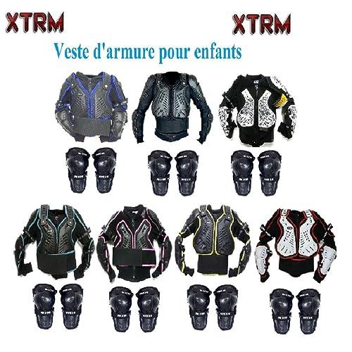 Veste de Protection Moto XTRM Enfant Corps Armor Vest Nouveau Cyclisme Velo Quad MX Course Hors-Piste Armure corporelle pour VTT Sport CE Approuver la Protection avec des Protege-Genoux