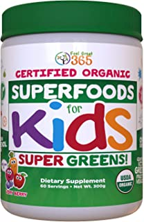Certified USDA Organic Superfood Greens for Kids Berry Juice Powder by Feel Great 365 | Prebiotics, Probiotics & Digestive...