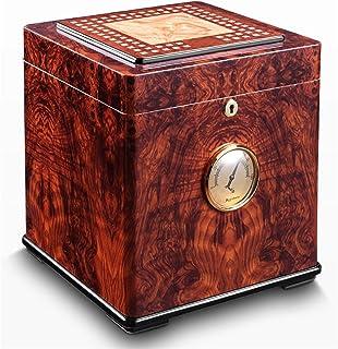 Humidors Cigarr för cigarr, handgjord ceder med främre digital hygrometer, luftfuktare, upp till 100 cigarrer (storlek: 26...
