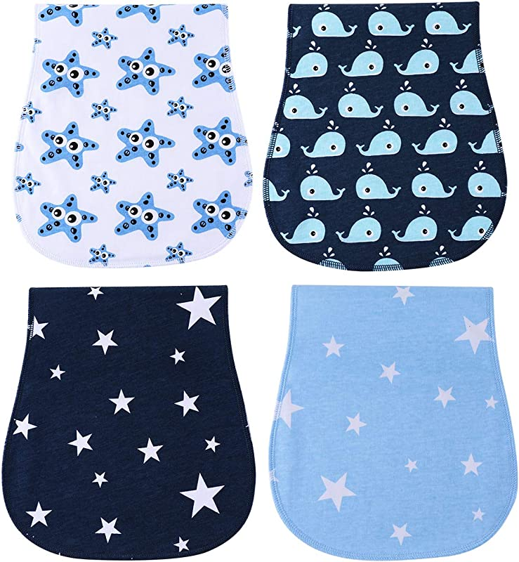 Burp Cloths Waterproof For Boys Girls Absorbent And Soft Baby Burp Clothes Set 4 Pack By YOOFOSS