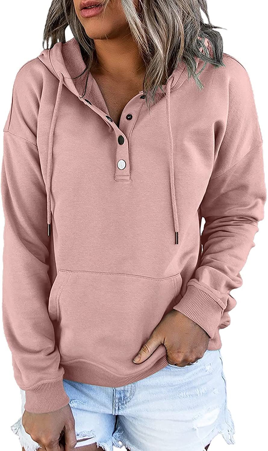 Dokotoo Womens Casual Button Collar Drawstring Long Sleeve Hoodies Pullover Sweatshirts Hooded Tops