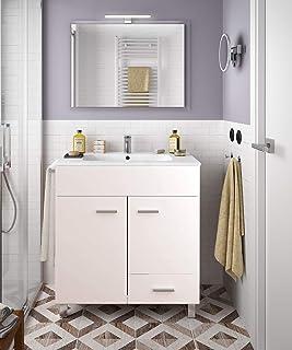 PDM Mueble DE BAÑO con Lavabo Espejo Y TOALLERO (Aplique LED NO Incluido) Conjunto Moderno Medidas (60 CM, Blanco Brillo)