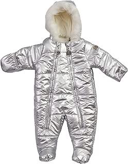 DKNY Baby Girls' Cozy Puffer Snowsuit Pram with Fur Trim (Infant/Newborn)