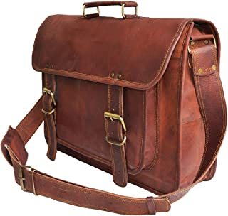 "18"" Leather Messenger Bag Laptop case Office Briefcase Men Computer Distressed Shoulder Bag"