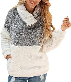 Womens Outwear Coat Long Sleeve Faux Fur Zipper Cowl Neck Fleece Pullover Sweatshirt Tops with Pocket