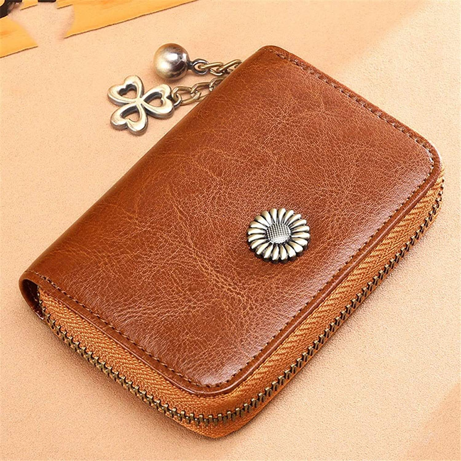 Women's Wallet Clutch Women Blocking Wallet Leather Zip Around Phone Clutch Large Travel Purse Wristlet Large Travel Wallet Wrist Bag (color   Brown)