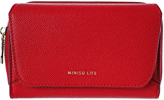 Metal Textured Women's Wallet with Zipper(Red)