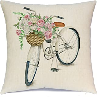 AENEY White Bicycle Flower Vintage Spring Home Decorative Throw Pillow Case Cushion Cover Cotton Linen Home Decor for Couch Sofa Bed Chair 18 X 18 Inch A080
