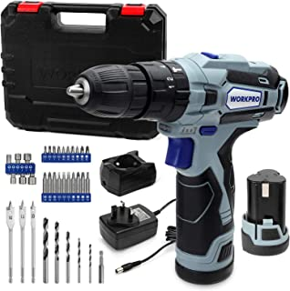 WORKPRO 12V Cordless Drill Driver Kit, Combi Drill with 2 Li-Ion Batteries 2000mAh, 35pc Accessories, Fast Charger, 18+3 T...