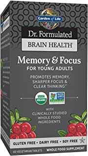 Garden of Life Dr. Formulated Organic Brain Health Memory & Focus for Teens and Young Adults 60 Tablets