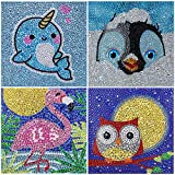 4 Packs DIY 5D Diamond Painting by Number Kit for Children Full Drill Rhinestone Embroidery Diamond Art for Kids Diamond Painting Kit for Home Wall Decoration, Narwhal Penguin Flamingo and Owl 15X15CM
