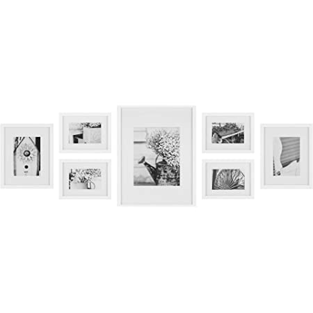 Gallery Perfect Photo Kit With Decorative Art Prints Hanging Template Gallery Wall Frame Set 7 Piece White 7 Piece Home Kitchen