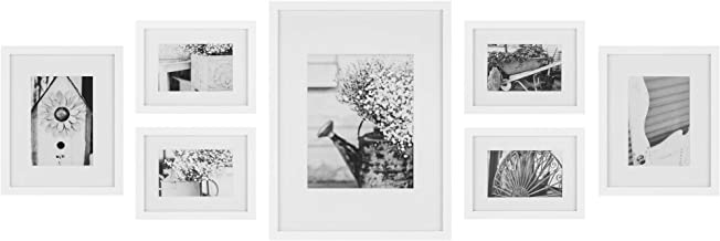 Gallery Perfect 7 Piece White Photo Frame Gallery Wall Kit with Decorative Art Prints & Hanging Template