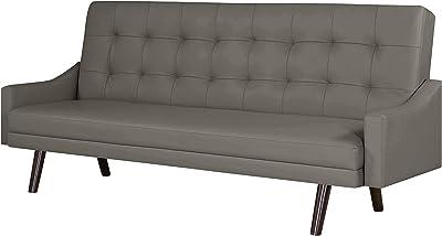 Amazon.com: vidaXL Black Artificial Leather Convertible Sofa ...
