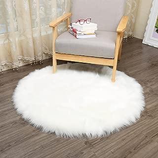 CHITONE Round Faux Fur Sheepskin Rugs, Soft Shaggy Area Rug Home Decorative Bedroom Fluffy Carpet Rug, Diameter 3 Feet, White