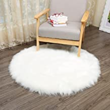 CHITONE Round Faux Fur Sheepskin Rugs, Soft Shaggy Area Rug Home Decorative Bedroom Fluffy Carpet Rug, Diameter 5 Feet, White