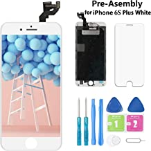 Samfix Screen Replacement for iPhone 6S Plus White 5.5 Inch LCD Display A1634 A1687 A1699 Pre-Assembly Touch Digitizer with Front Camera, Proximity Sensor, Earpiece and Screen Protector