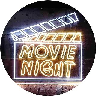 Movie Night Film Cinema Illuminated Dual Color LED Neon Sign White & Yellow 600 x 400mm st6s64-i0707-wy