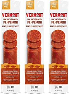 Vermont Smoke & Cure Uncured Gluten Free, Smoked Pepperoni, 6 Ounce Pepperoni, 3 Count
