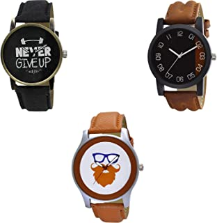 Nikola Never Give Up and Beard Style Analogue Black and White Color Dial Boys Watch - BL46.27-B36-B55 (Pack of 3)