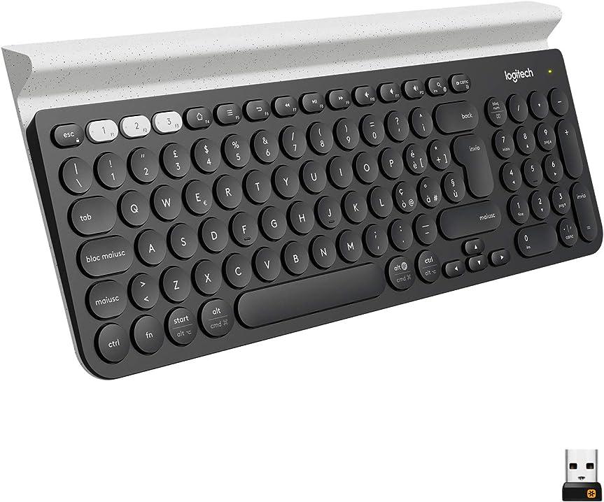 Tastiera pc wireless 2.4 ghz e bluetooth multidispositivo per windows, apple, android o chrome logitech k780 920-008038