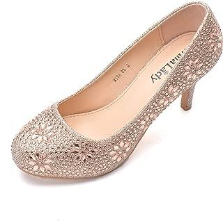 MAYRA06 Princess Sparkle Crystal Gem Rhinestone Glitter Formal Pumps, Wedding Shoes Evening Dress Heels for Women