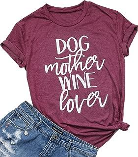 Dog Mother Wine Lover Shirt Dog Mom Drinking T Shirt for Women Funny Letter Print Short Sleeve Tees Tops