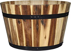 "Classic Home and Garden 110025-2 16"" Whiskey Barrel Planter, 2 Pack, Acacia"