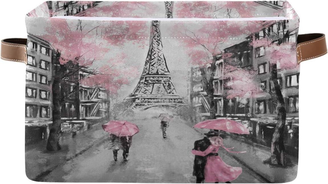 Toprint Fashionable Pairs Flower Eiffel Tower Romantic 1 year warranty Bin Fl Basket Storage