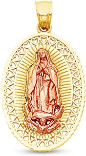Sonia Jewels 14K Two 2 Tone Rose and Yellow Gold Milgrain Ornate Religious Our Lady of Guadalupe Virgin Mary Pendant Charm (27x19 mm)