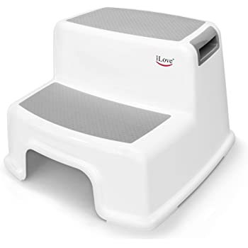 Wide+ 2 Step Stool for Kids | Toddler Stool for Toilet Potty Training | Slip Resistant Soft Grip for Safety as Bathroom Potty Stool and Kitchen Step Stool | Dual Height & Extra Wide Two Step | iLove