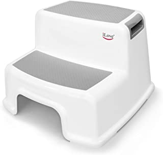 Wide+ 2 Step Stool for Kids   Toddler Stool for Toilet Potty Training   Slip Resistant Soft Grip for Safety as Bathroom Potty Stool and Kitchen Step Stool   Dual Height & Extra Wide Two Step   iLove
