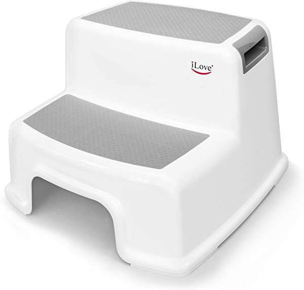 Wide 2 Step Stool For Kids Toddler Stool For Toilet Potty Training Slip Resistant Soft Grip For Safety As Bathroom Potty Stool And Kitchen Step Stool Dual Height Extra Wide Two Step ILove
