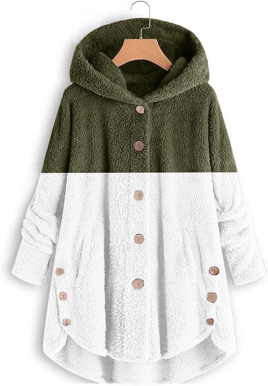 YiMiny Womens Coat Hoodie Plush Flannel Blanket Velvet Patchwork Ultra Soft Warm Comfy Oversized Teddy Bear Sweatshirt Winter Warm Pajamas Sweater